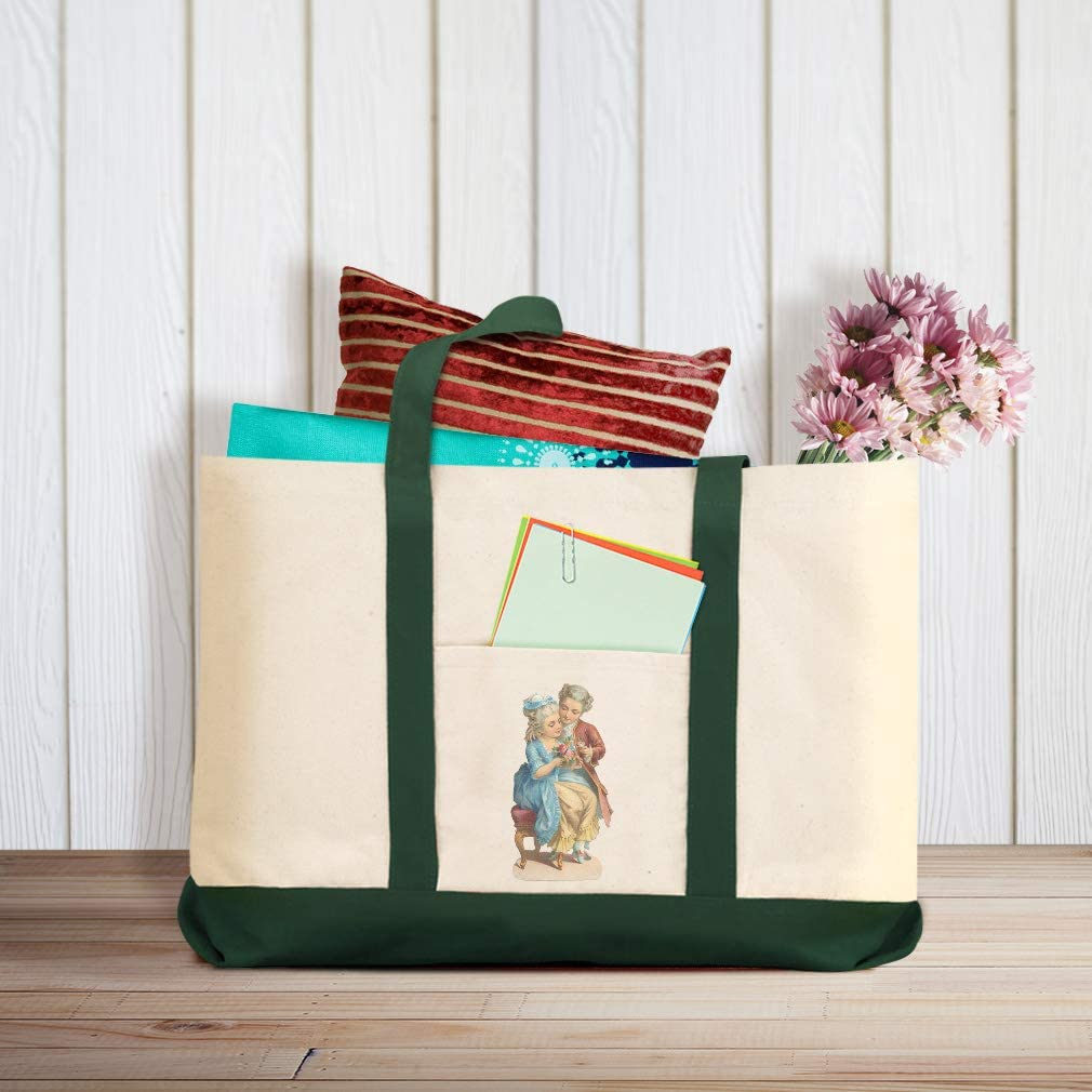 Canvas Shopping Tote Bag Man Gives Bouquet to Lady Characters Couples Romantic Beach for Women