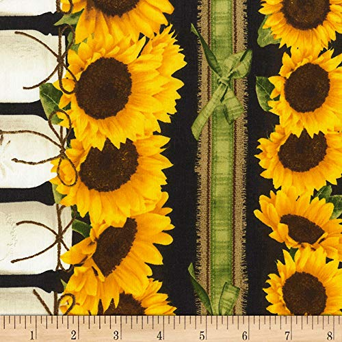 Stripe Quilt Fabric - Timeless Treasures Black Farm Sunflower Border Stripe Fabric by The Yard
