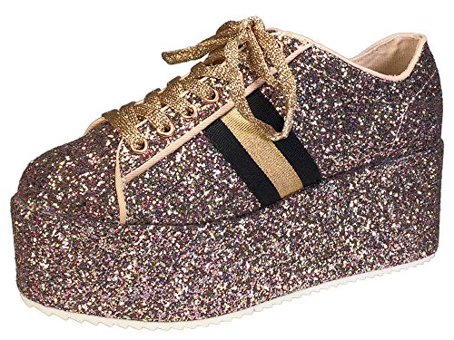 BAMBOO Women's Lace-Up High Platform Sneaker, Blush Glitter, 10.0 B (M) US