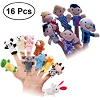 NUOLUX 16pcs Finger Puppets Story Time Finger Doll Props Toy Animals and Family Members Finger Puppets