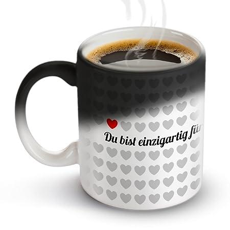Tassenwerk – Tasse mit Thermoeffekt – Kaffeetasse mit Farbwechsel – Motiv 1000 Herzen – Geschenkidee zum Valentinstag und Geb