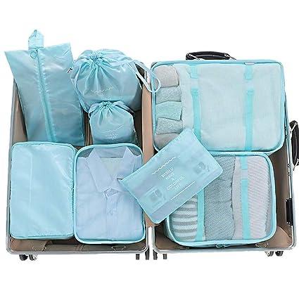 Organizador de Equipaje 8 en 1 Set Organizador de Maletas Impermeable Viaje con Bolsa de Zapato, Material Nylon-Meowoo (Azul Cielo 8pcs)