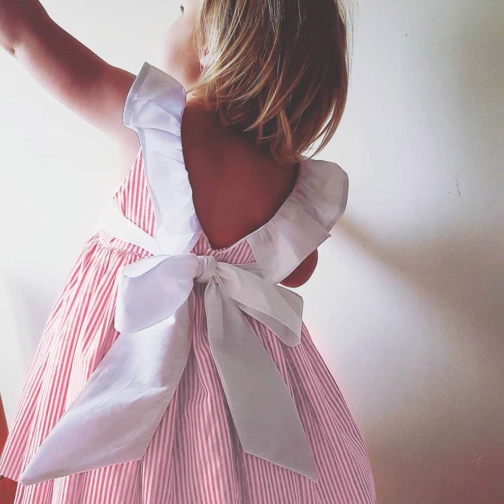 OCEAN-STORE Toddler Baby Girl 6 Months-3T Sleeveless Ruffles Striped Sundress Clothes Bow Dress Outfits