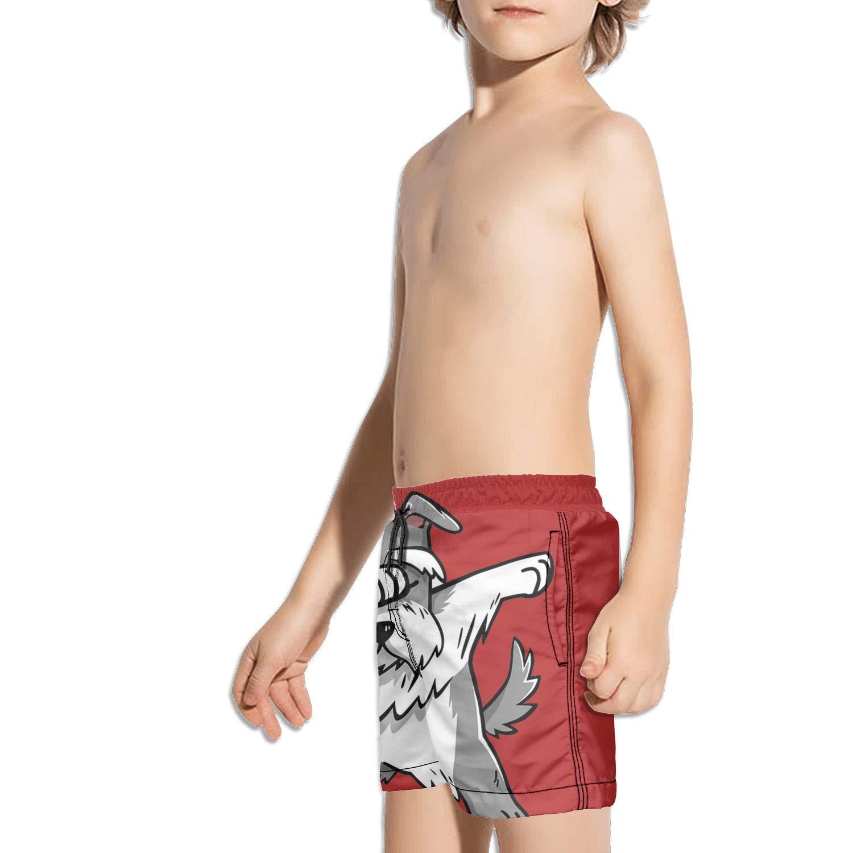 JIONONDS Cute Dabbing Schnauzer Dog Kids Beach Printed Reusable Swim Shorts