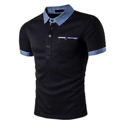 Camisetas de hombre Liusdh Vaca Color Revers Cuello Leader Corbata ...