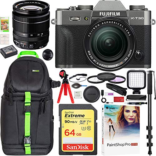 Fujifilm X-T30 Mirrorless Camera with XF 18-55mm f/2.8-4 R LM OIS Lens Charcoal (16620060) Travel Bundle Including Backpack + LED + 64GB Memory Card + Filter Kit + Monopod
