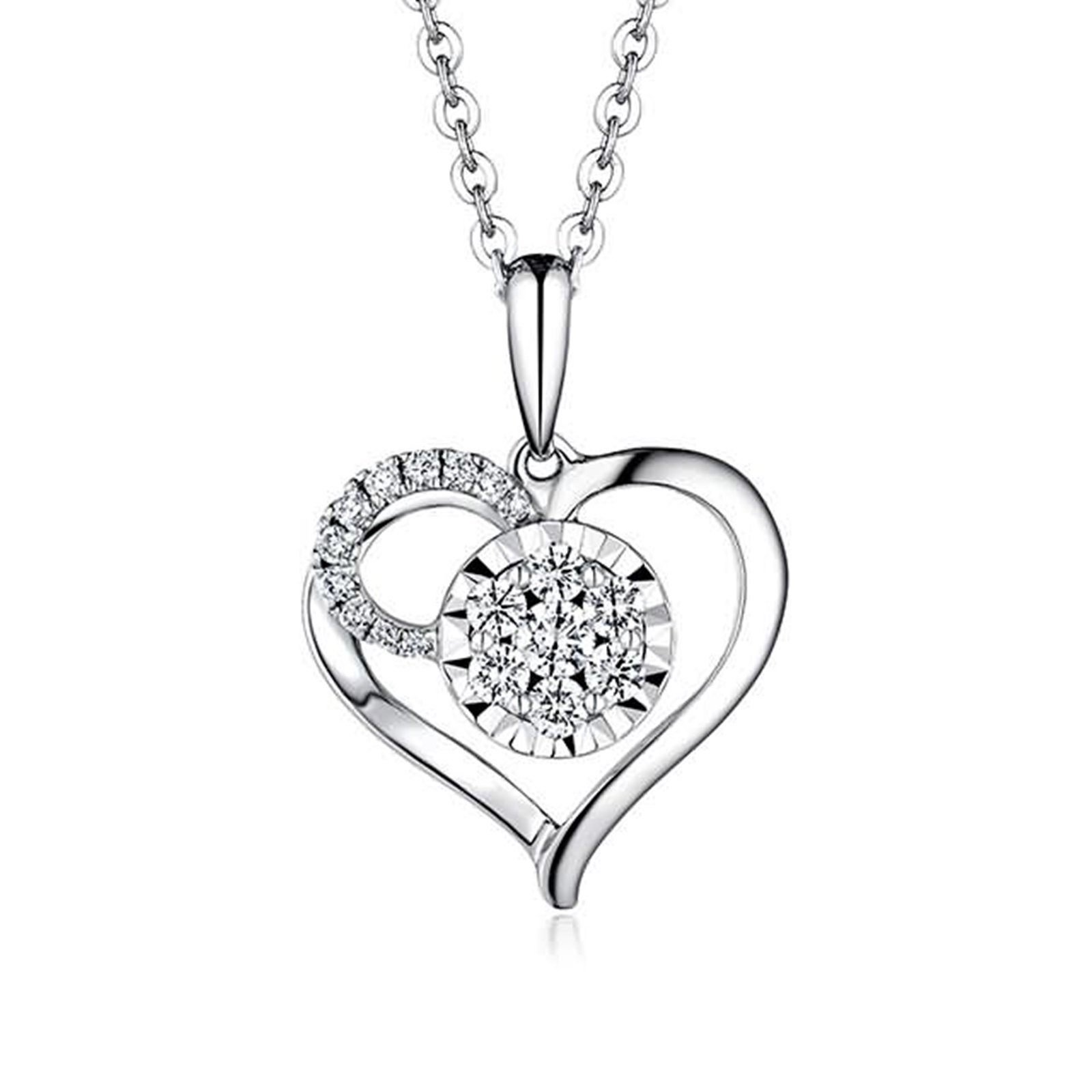 Beydodo Women Necklace,18k Real White Gold 1.06g Heart Convergence of Love Round Diamond Necklace