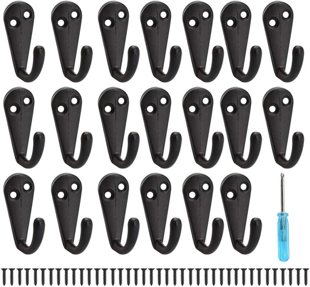 Negro CODIRATO 20 PCS Ganchos de Pared Ganchos para Percheros con 40 Tornillos y un Destornillador Colgador Perchero de Pared para Colgar Ropa//Abrigo//Bufanda//Bolsa//Toalla//Llave