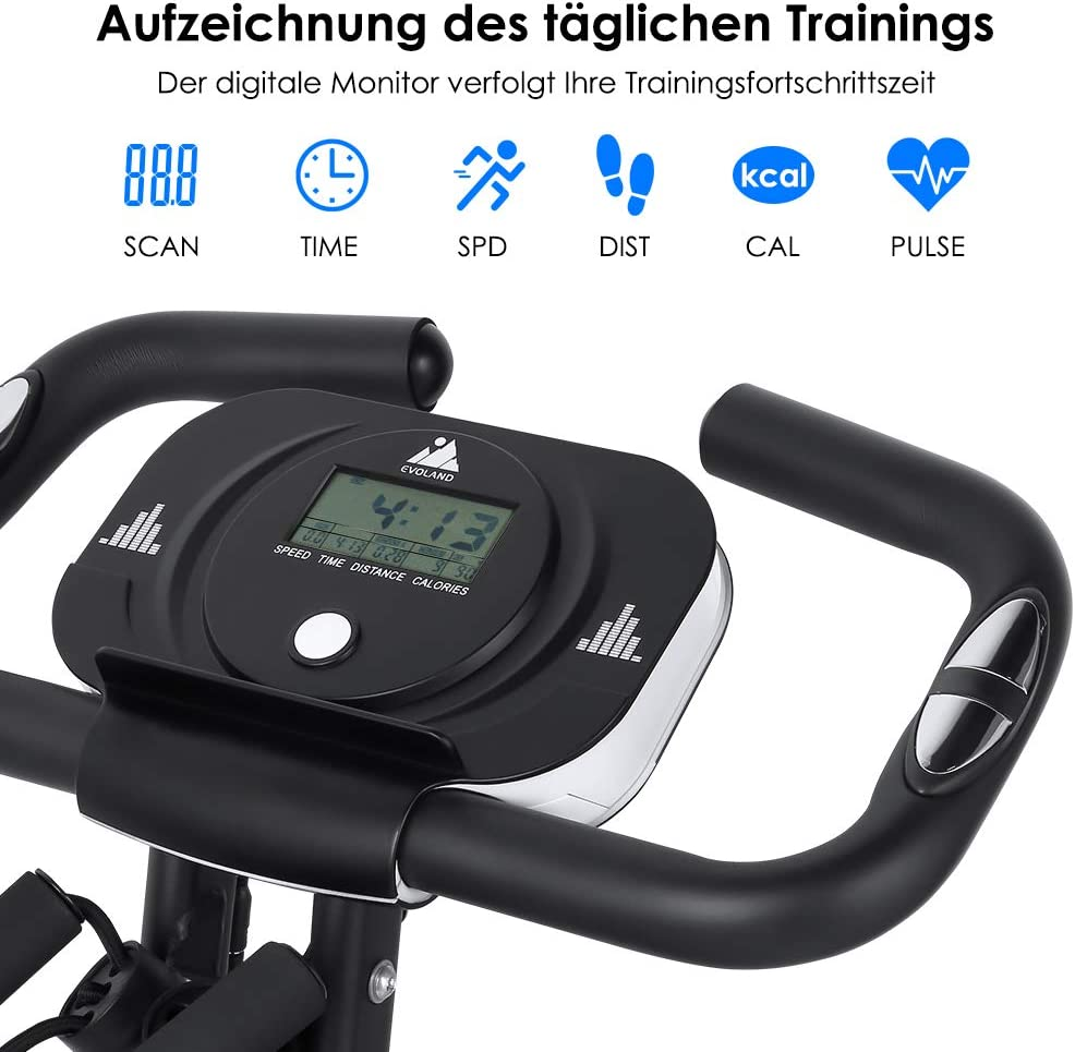 EVOLAND Klapp-Heimtrainer Magnetic Resistance Multilevel-Fitness-Heimtrainer mit Pulsmesser f/ür Heimtraining MAX bis 200 kg