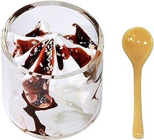 LOadSEcr Miniature Food, Miniature Dollhouse Accessories, Mini Things, 1/12 Dollhouse Clear Ice Cream Cup Spoon Model Simulation Food Miniature Decor for Dollhouse White