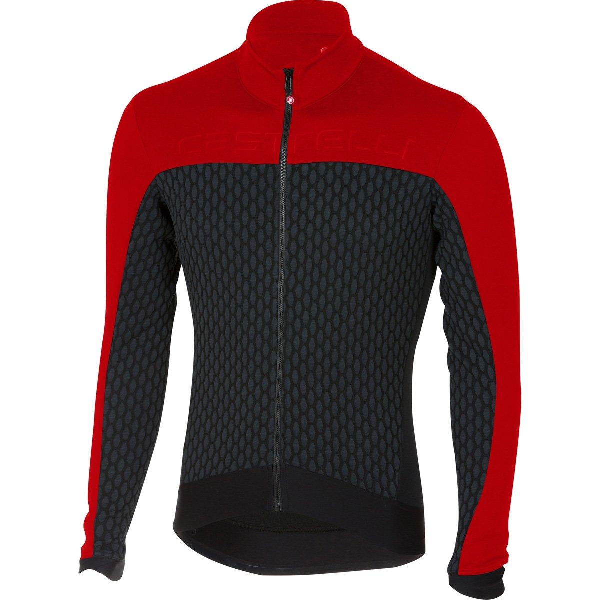 Castelli 2017 / 18メンズSfidaフルZip長袖サイクリングジャージー – a17510 B074WNBFFV Small|ブラック/レッド ブラック/レッド Small