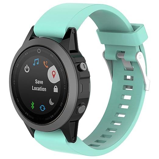 Correa instalación rápida Strap de Repuesto Banda para el Reloj Garmin Fenix 5s de Color sólido Brazalete Deportes Pulsera Silicona Banda: Amazon.es: ...