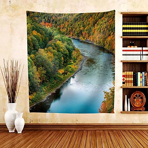 Gzhihine Custom tapestry Upper Delaware River Bends Through a Colorful Autumn Forest near Port Jervis New York - Fabric Tapestry Home Decor - Map Bend Willow