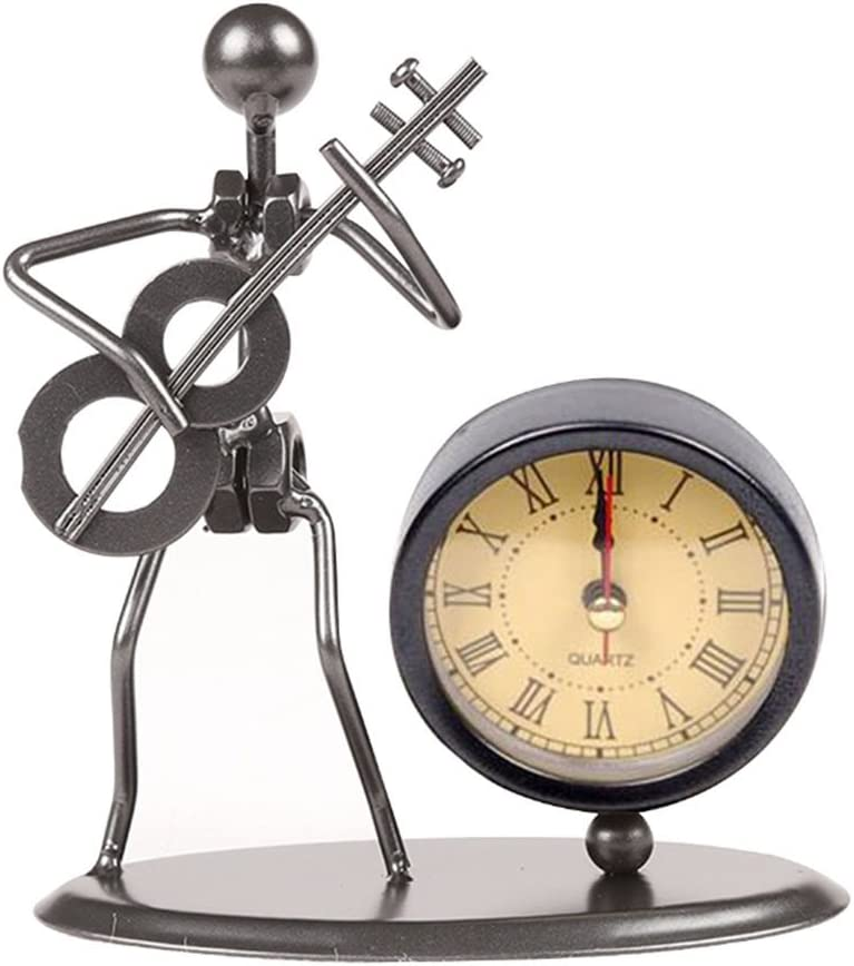 Classic Vintage Old Fashion Iron Art Musician Clock Figure Ornament for Home Office Desk Decoration Gift C70 Guitar