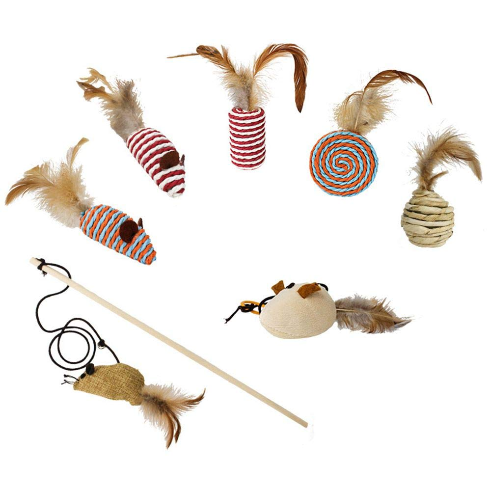 Leowow Cat Toys,Interactive Cat Wand,Seven Funny Cat Toys,Badminton,Cloth Mouse,Sisal Tube,Oblate Sphere