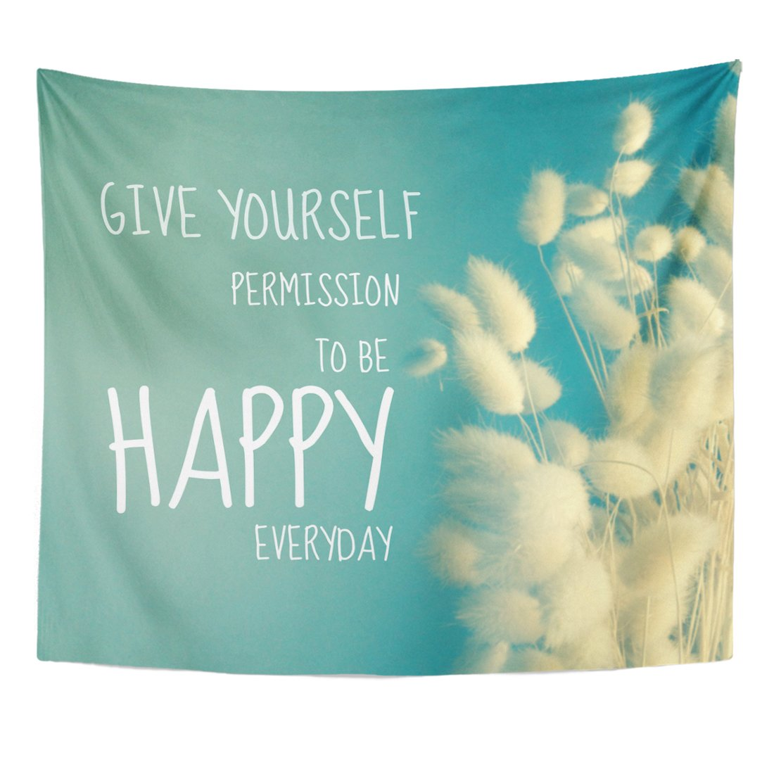 Emvency Tapestry Happy Inspirational Quote on Kapok Vintage Filter Everyday Better Home Decor Wall Hanging for Living Room Bedroom Dorm 50x60 Inches by Emvency