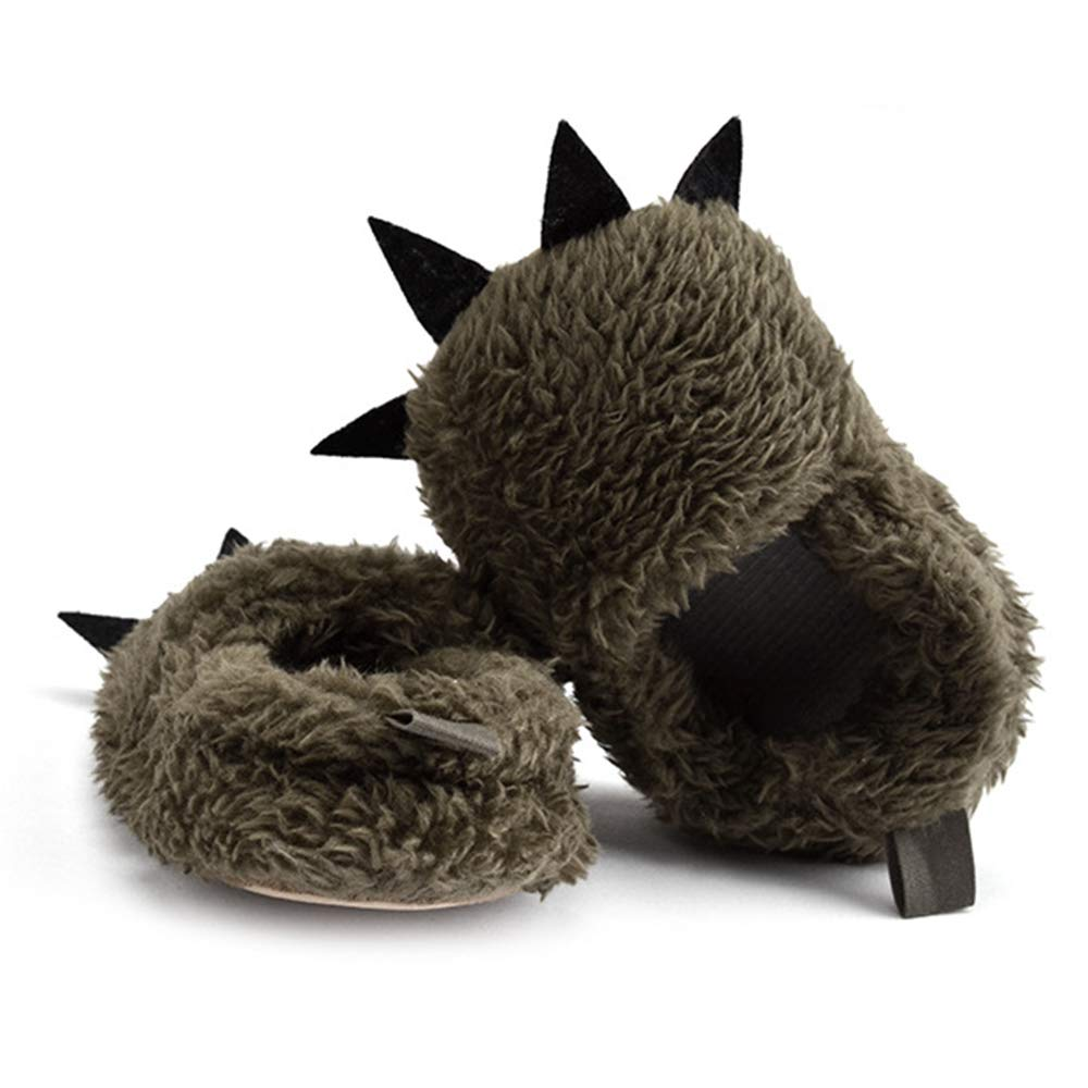 Dark Gray Cute Baby Warm Slipper Winter Baby Shoes Fluff Warm Toddler Young Kids Infant Baby Booties Slippers for Baby 0-12 Months Size 11cm