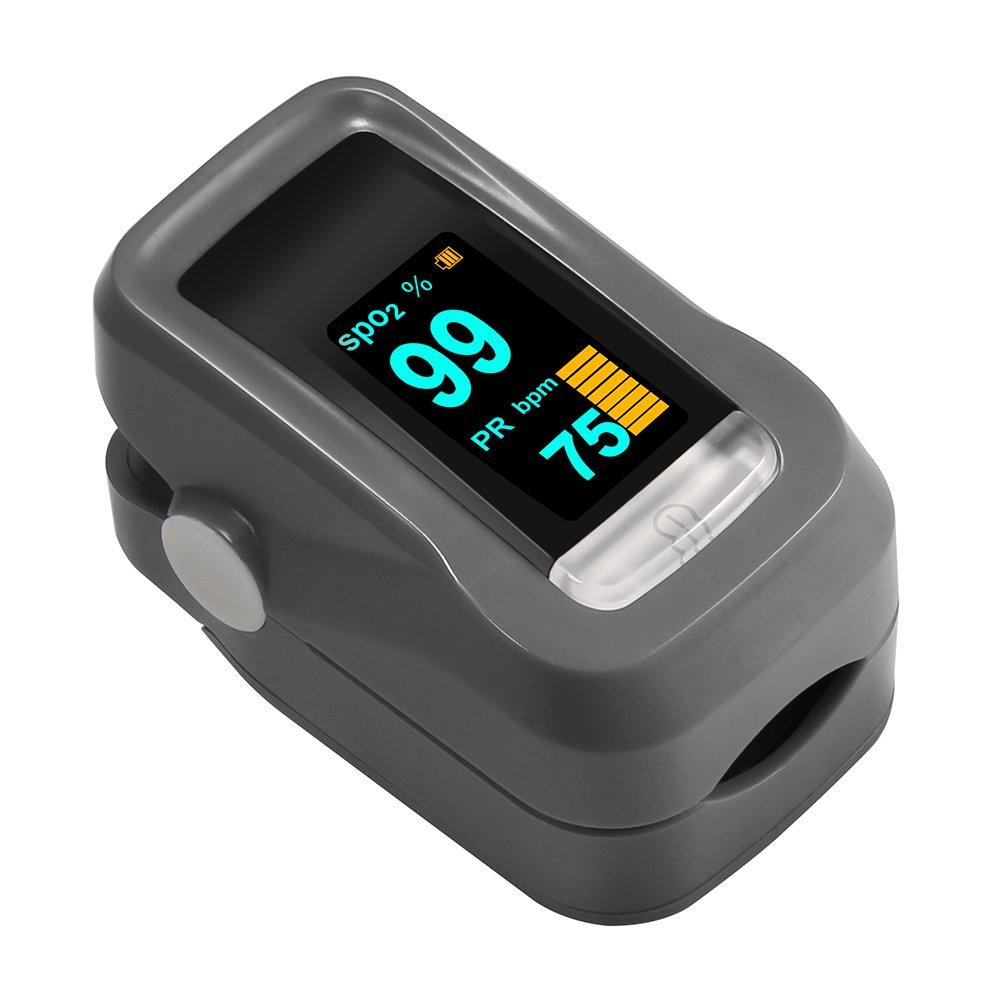 Oxímetro de Dedo GRDE Medidor de Oxígeno Sangre y Monitor de Frecuencia