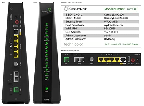 CenturyLink Prism TV Technicolor C2100T 802.11AC Modem Router Gigabit DSL Fiber 2.4/5GHz