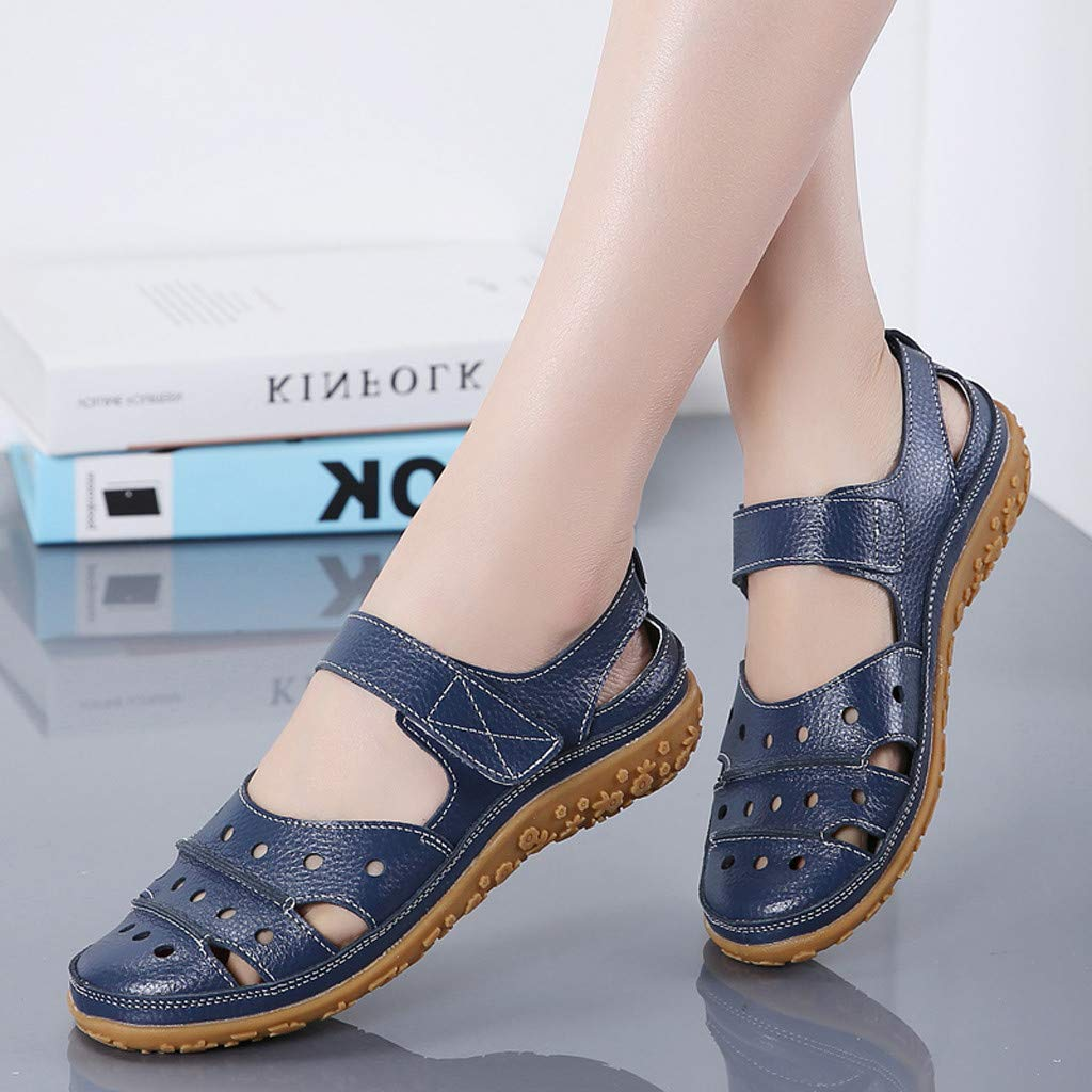 Women's Slip On Loafers Hollow Out Breathable Roman Sandals Casual Comfort Walking Flats Shoes (Light Blue, 8.5 M US) by Sinaou Women Shoes (Image #6)