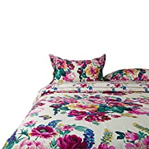 MAXYOYO Home Textiles 100% Cotton Classical Luxury Retro Palace Floral Duvet Cover Set,Gorgeous Flower Printing Bedding Set Full Queen Size