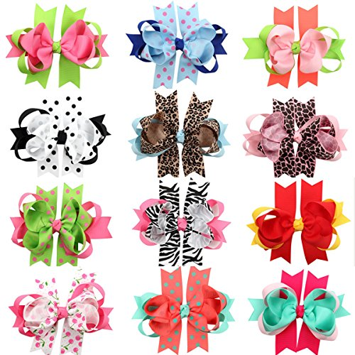 Baby Bows Alligator Hair Clips Leopard Grain Cute Bows for Toddlers Girls 12 Pcs