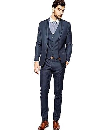 Amazon.com: newdeve Set 3 piezas vestir gris trajes ...