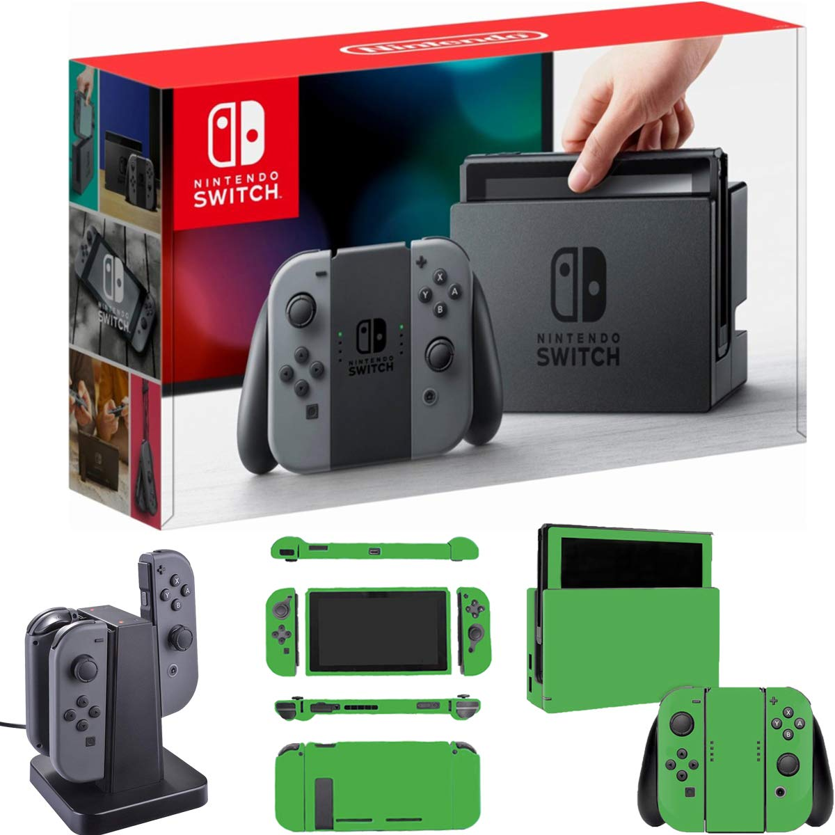 Nintendo Switch with Gray Joystick Controllers with Deco Gear Joystick Controller Charging Dock + Lime Skin Bundle