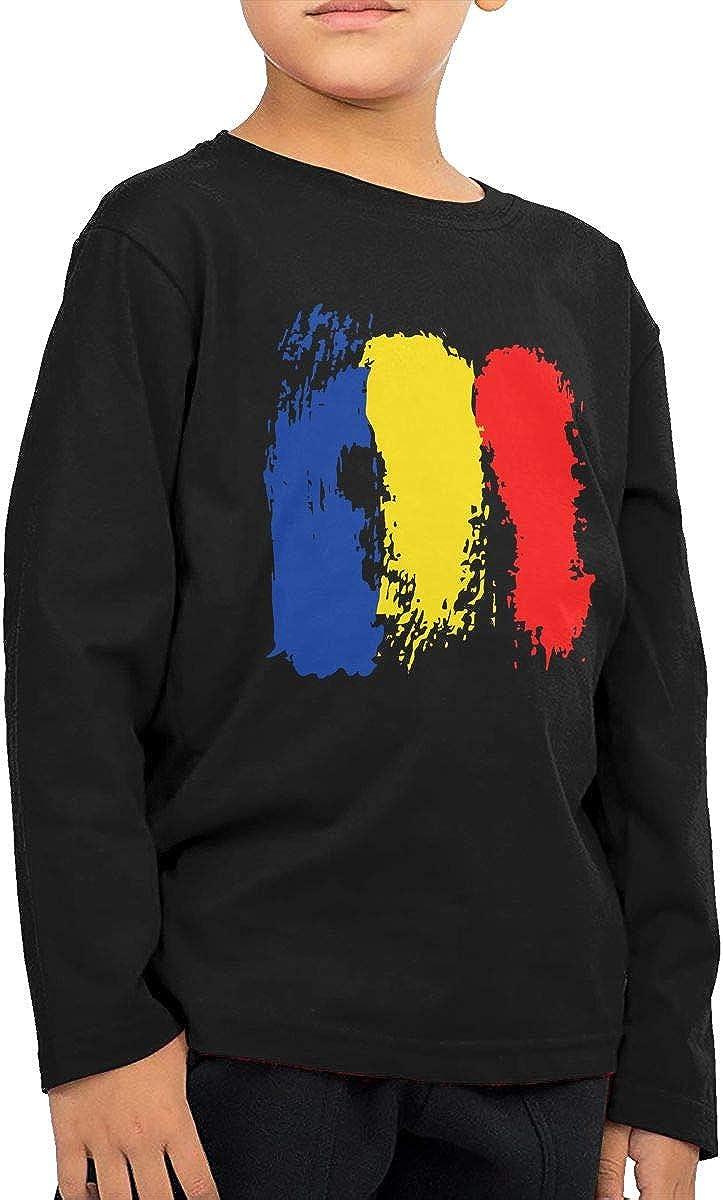 CERTONGCXTS Little Boys Romanian Flag ComfortSoft Long Sleeve Shirt