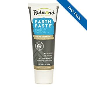 Redmond Earthpaste - Natural Non-Fluoride Charcoal Toothpaste, 4 Ounce Tube (Peppermint Charcoal 2 Pack)