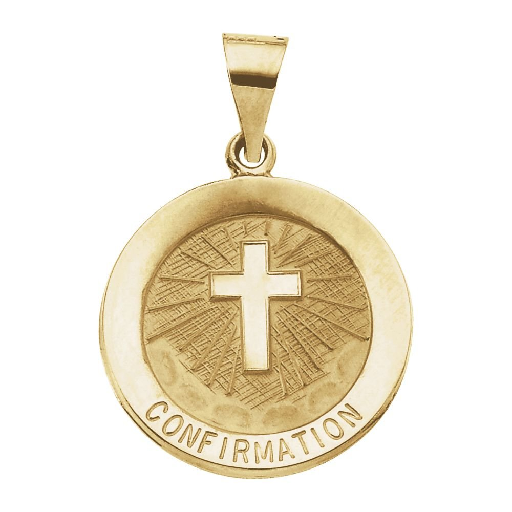 FB Jewels 14K Yellow Gold 18mm Hollow Confirmation Medal