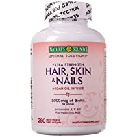 Nature's Bounty Hair Skin and Nails 5000 mcg of Biotin - 250 Coated Softgels Regular...