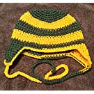 Hand Crocheted Baby to Toddler Green Bay Packers Hat with ear flaps and ties