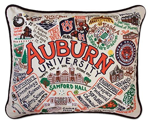 Auburn Tigers Throw Pillow - AUBURN UNIVERSITY COLLEGIATE EMBROIDERED PILLOW - CATSTUDIO