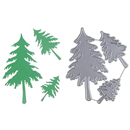 kathshop 3pcs christmas tree shape frame metal cutting dies scrapbooking metal stencils craft dies for diy