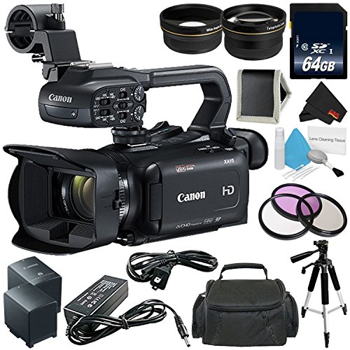 Canon XA15 Compact Professional Camcorder - Full HD with SDI, HDMI and Composite Output - Bundle with 64GB Memory Card + More