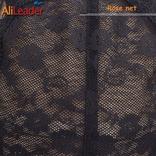 Black Double Lace Wig Caps For Making Wigs Hair Net with Adjustable Straps Swiss Lace Large Size from AliLeader by AliLeader (Image #3)