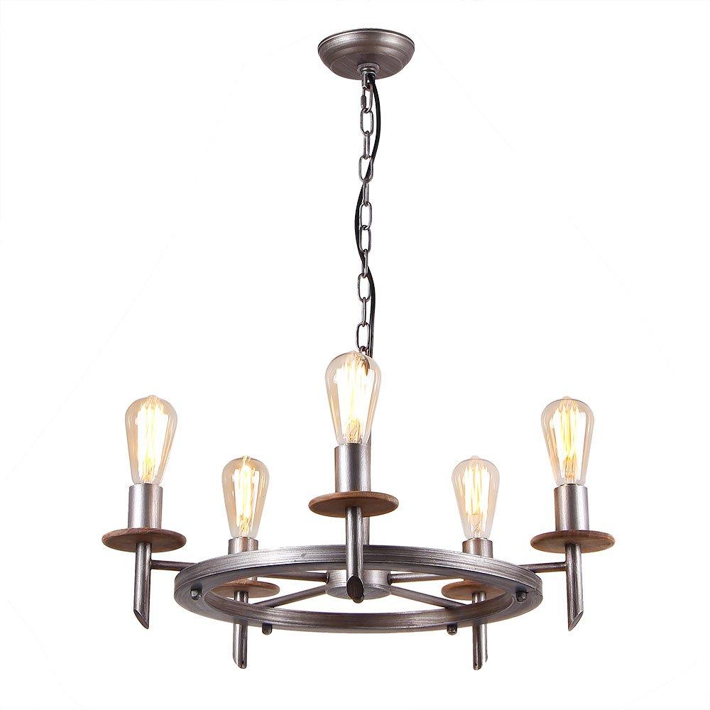 Eumyviv C0020 5-Lights Annular Metal Wood Chandelier Retro Rustic Industrial Pendant Light Edison Vintage Decorative Light Fixtures Ceiling Light Luminaire by Eumyviv (Image #5)