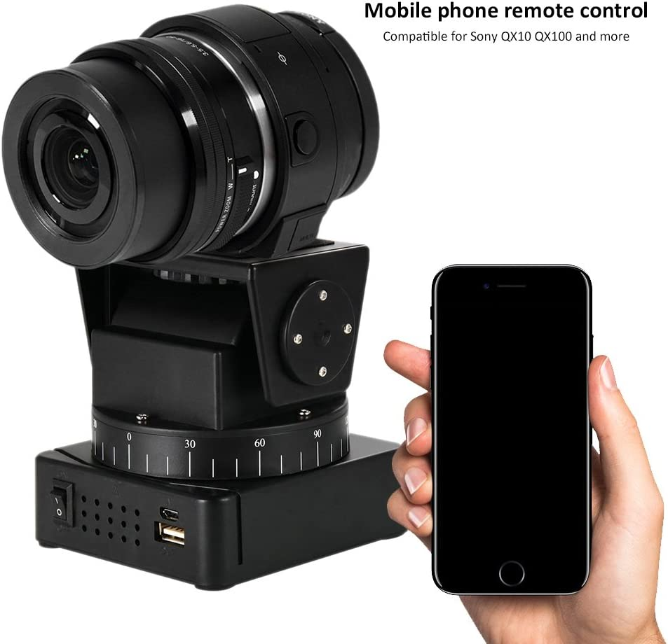 Acouto Camera Pan Head Motorized Camera Pan Tilt Head with Remote Control for Cameras Smartphones Black