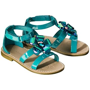 3afadbaf0a5740 Image Unavailable. Image not available for. Color  Cherokee Jordan  Turquoise Blue Flower Top Girls Toddler Sandals Size 5