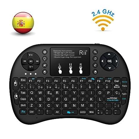 (Actualizado, Retroiluminado) Rii i8+ Mini teclado inalámbrico 2.4Ghz con touchpad integrado, retroiluminación Led y batería recargable de Litio-ION ...