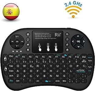 Actualizado, Retroiluminado) Rii i8+ Mini teclado inalámbrico 2.4Ghz con touchpad integrado, retroiluminación Led y batería recargable de Litio-IO: Amazon.es: Electrónica