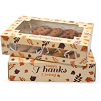 Yotruth Thanksgiving Cookie Gift Boxes Pumpkin Bakery Gift Containers with Leaf and Turkey Feast 50 Pack…