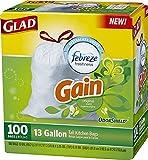 Glad OdorShield Drawstring Tall Kitchen Trash Bags, Gain Original, 13 Gallon, 100 Count (Packaging May Vary)