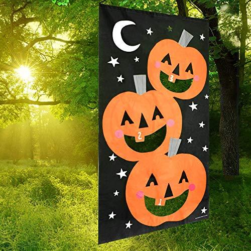 YuQi Pumpkin Bean Bag Toss Game, Halloween Games for Kids, Party Halloween Decorations,3pcs Bean Bags Pumpkin Banner 30 x 55 Inches Black Orange ()