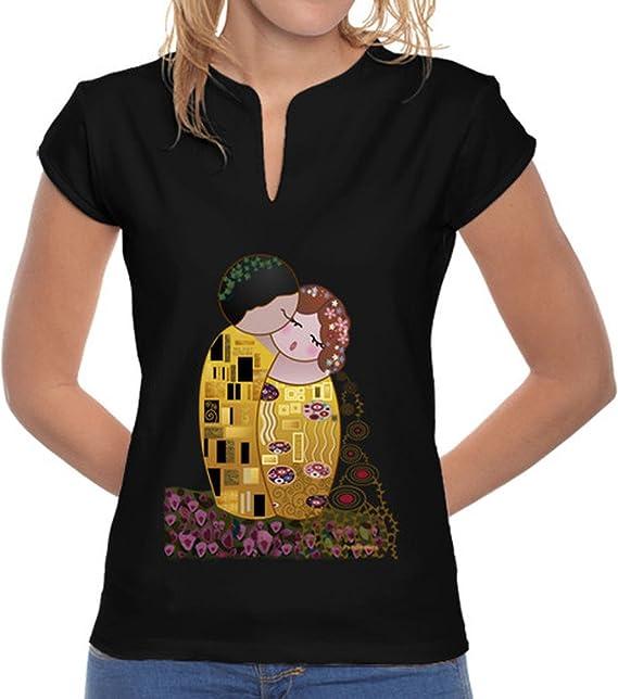 latostadora Camiseta Camiseta Cuello Mao Kokeshi El Beso Estilo Klimt - Camiseta Mujer, Cuello Estilo