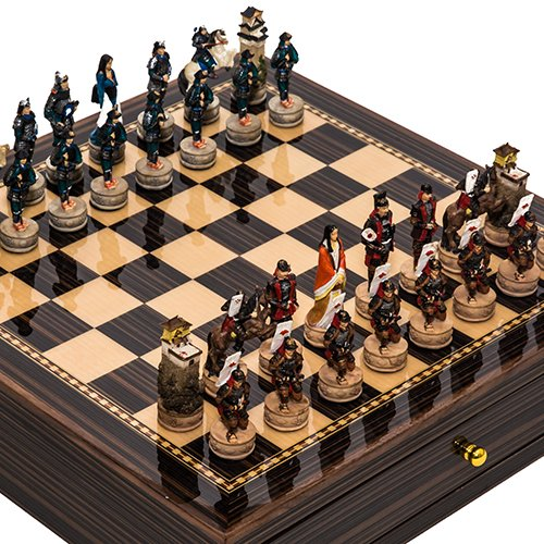 Walnut Cabinet Painted - Japanese Samurai Hand Painted Chessmen & Seventh Avenue Maple & Walnut Chess Board/Cabinet with Two Drawers
