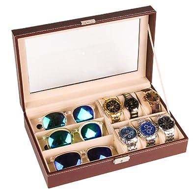 Olycism Estuche para Relojes y Gafas Caja de Exposición para 6 Relojes y 3 Gafas 33 x 20 x 8 cm: Amazon.es: Joyería