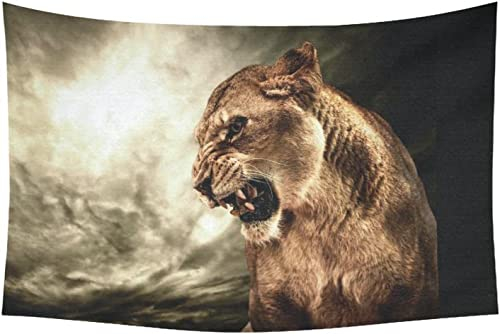 INTERESTPRINT Animal Wall Art Home Decor, Roaring Lioness Against Stormy Sky Tapestry Wall Hanging Art Sets 60 X 40 Inches