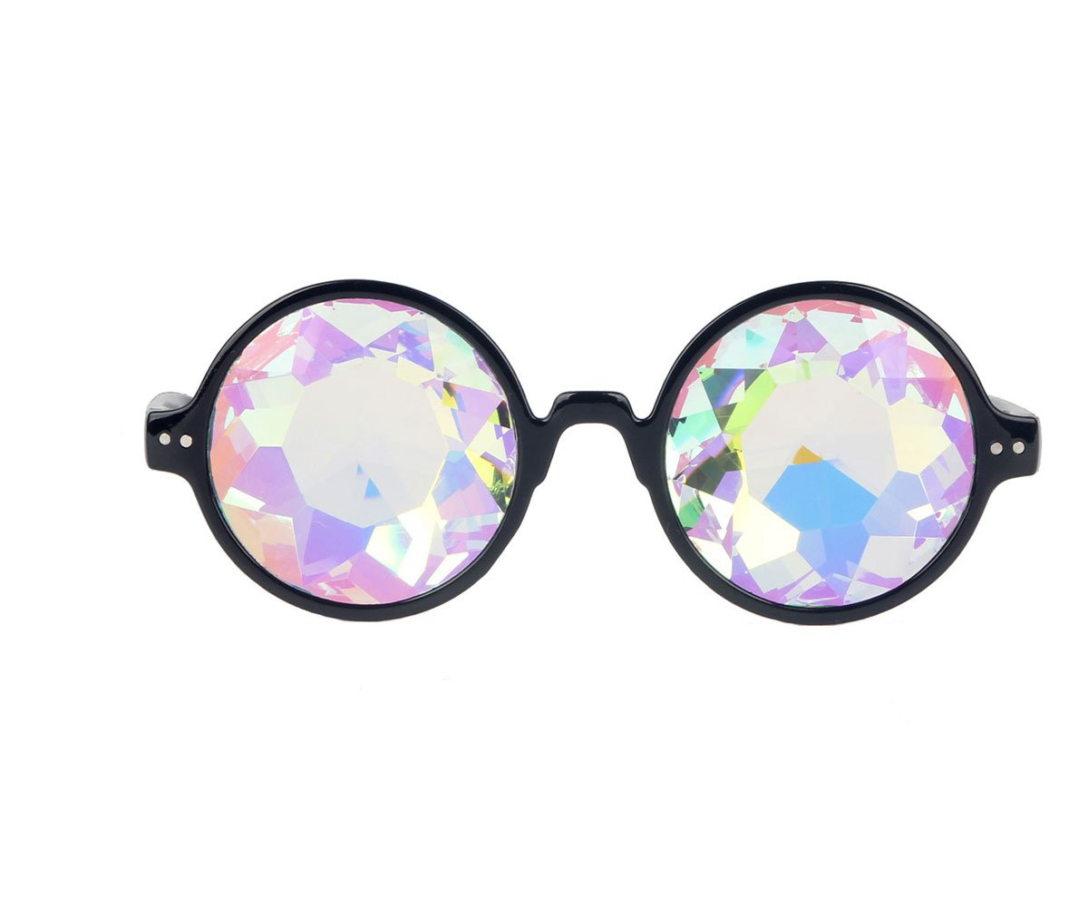 Hallowmas Cosplay Goggles, Crystal Rave Lens Kaleidoscopic Prism Glass for Christmas